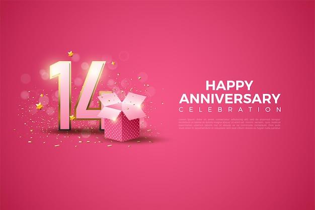 14e verjaardag met cijfers en geschenkverpakkingen. Premium Vector