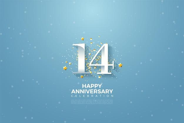 14e verjaardag met cijfers in de blauwe lucht. Premium Vector