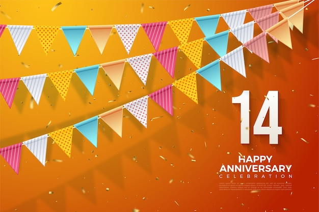 14e verjaardag met een nummer rechtsonder en een kleurrijke vlag. Premium Vector