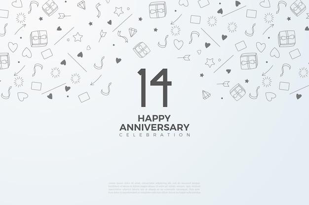 14e verjaardag met geïllustreerde achtergrondafbeelding. Premium Vector