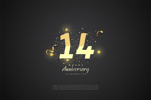 14e verjaardag met getallen. Premium Vector