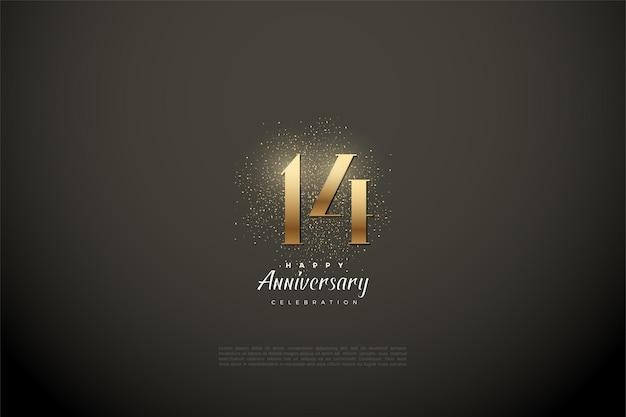 14e verjaardag met glanzende gouden cijfers en vonken. Premium Vector