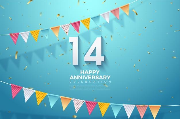 14e verjaardag met kleurrijke cijfers en vlaggen. Premium Vector