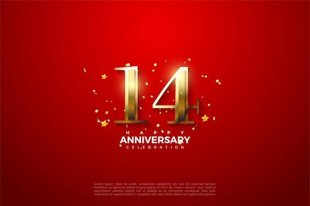14e verjaardag met luxe gouden cijfers. Premium Vector