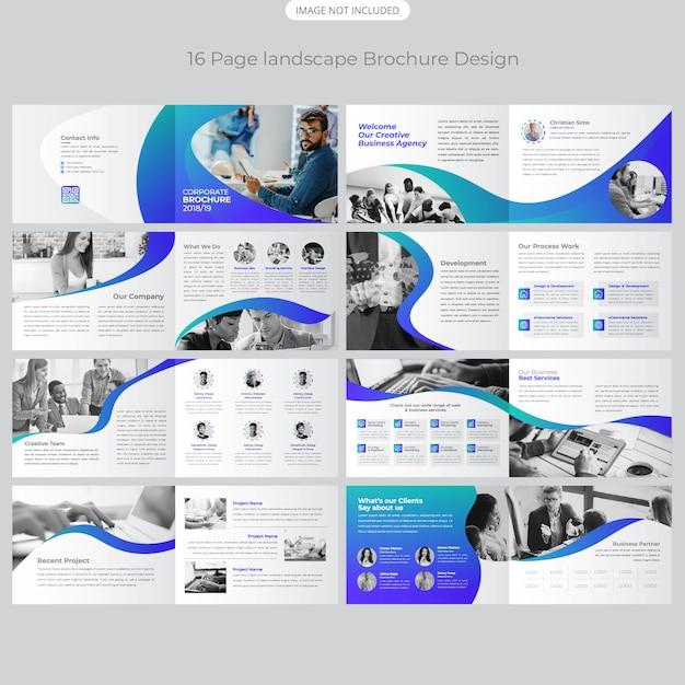 16 page landschap brochure ontwerp Premium Vector