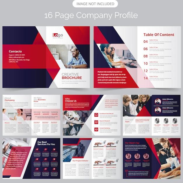 16 pagina bedrijfsprofiel brochure Premium Vector