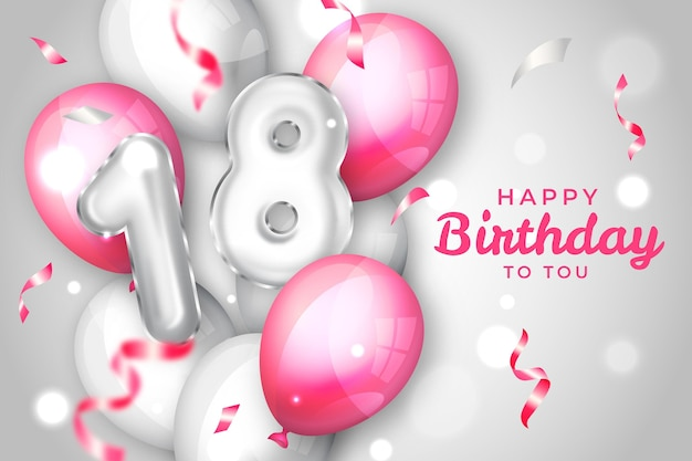 18e verjaardag ballonnen achtergrond Gratis Vector
