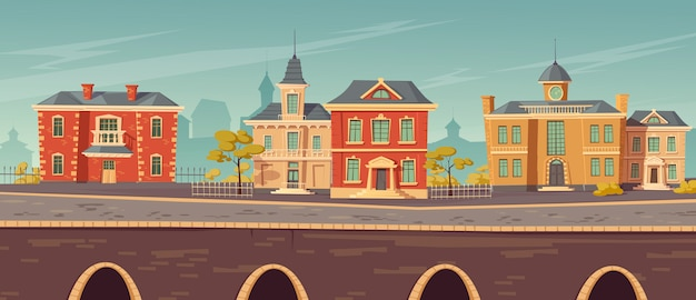 19e-eeuwse stadsstraat met europese gebouwen Gratis Vector