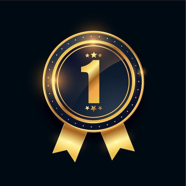 1e winnaar gouden medaille nummer één prestatie Gratis Vector