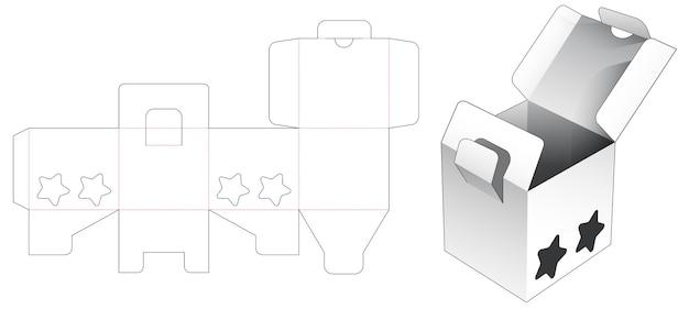 2 flips-box en vergrendelingspunt met 2 stervormige raamgestanste sjabloon Premium Vector