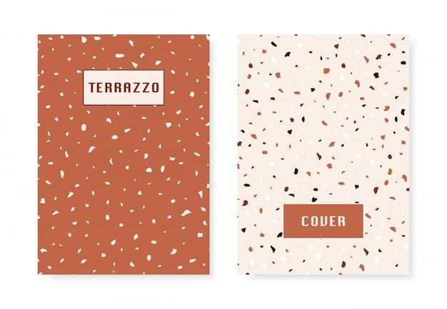 2 hoezen met imitatiepatroon van terrazzo vloeren. Premium Vector