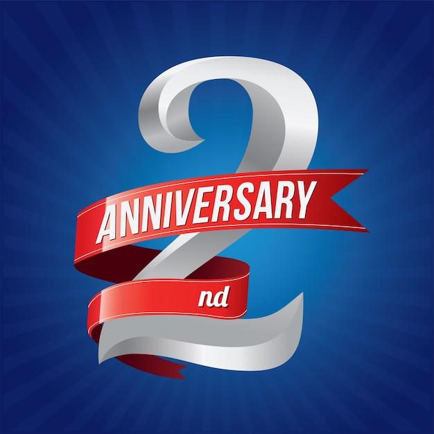 2 jaar jubileumfeest logo Premium Vector
