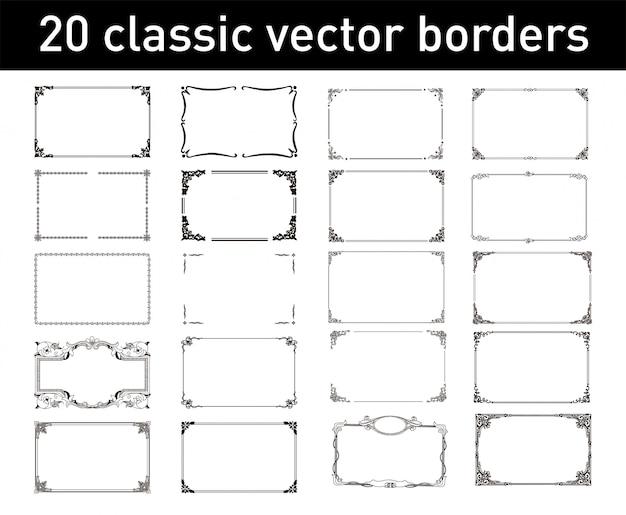 20 klassieke vectorranden Premium Vector
