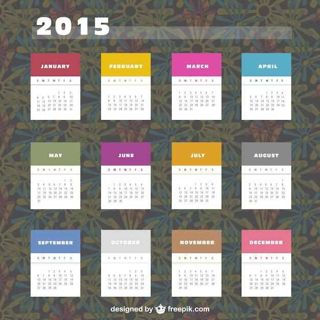 2015 kalender met kleurrijke labels Gratis Vector