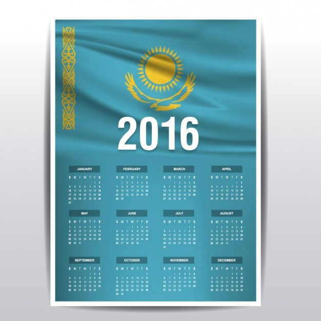 2016 kalender kazachstan Gratis Vector