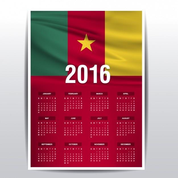 2016 kalender van kameroen Gratis Vector