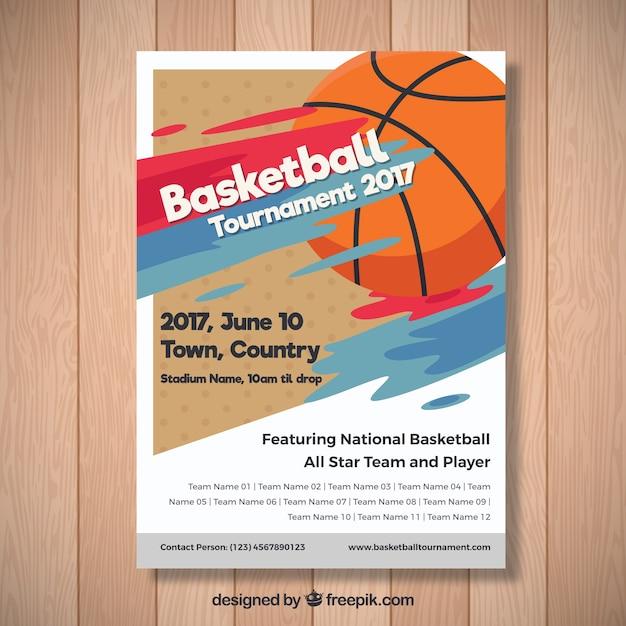 2017 basketbaltoernooi brochure Gratis Vector