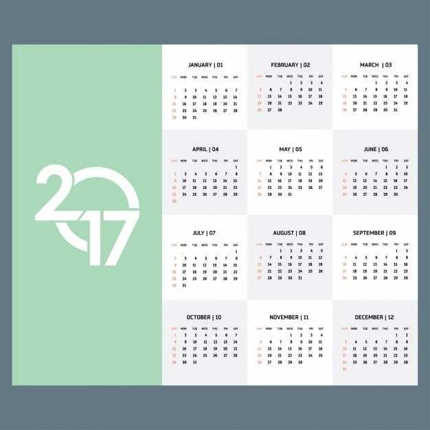 2017 green calendar template Gratis Vector