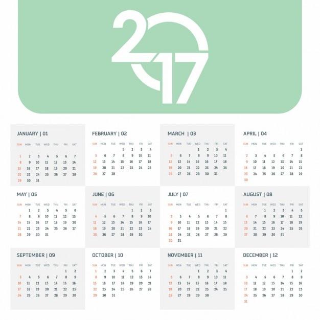 2017 groene kalender sjabloon met creatieve typografie Gratis Vector