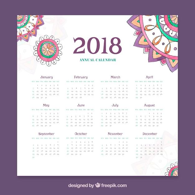2018 kalender Gratis Vector