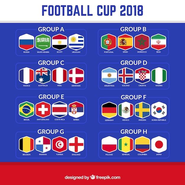 2018 voetbalbeker ontwerp met groepen Gratis Vector