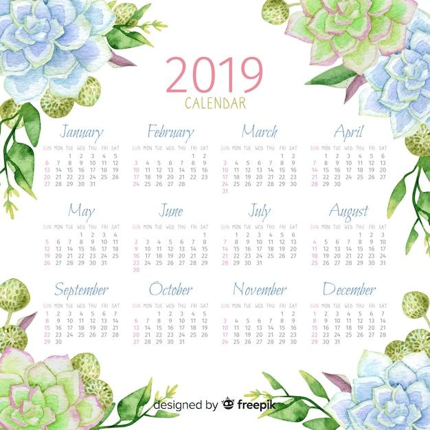 2019 aquarel bloemenkalender Gratis Vector