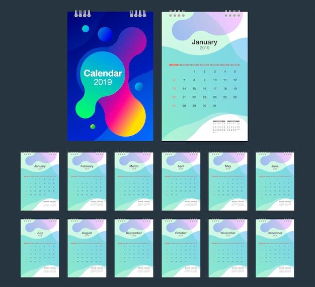 2019 bureaukalender. Premium Vector