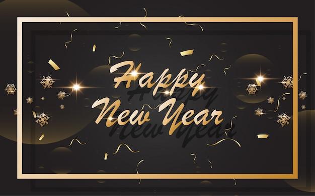 2019 gelukkig nieuw jaar met gouden alfabet op zwarte achtergrond Premium Vector