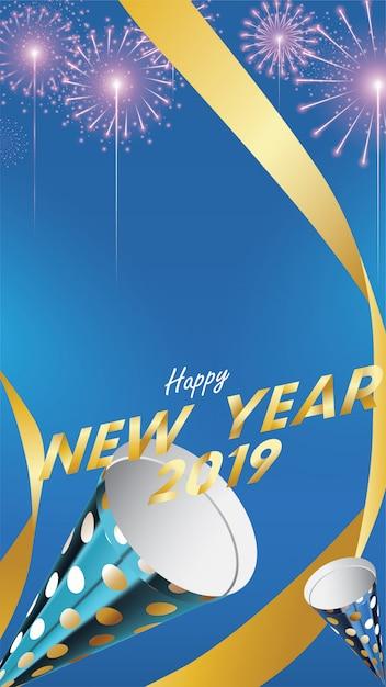 2019 gelukkig nieuwjaar achtergrond Premium Vector