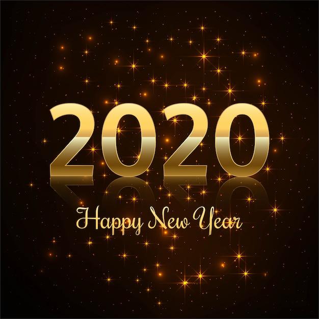 2019 gelukkig nieuwjaar goud glanzend Gratis Vector