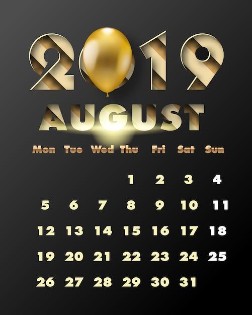 2019 gelukkig nieuwjaar met gouden papier gesneden kunst en ambachtelijke stijl. kalender voor augustus Premium Vector