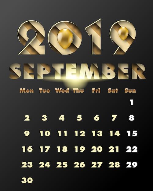 2019 gelukkig nieuwjaar met gouden papier gesneden kunst en ambachtelijke stijl. kalender voor september Premium Vector