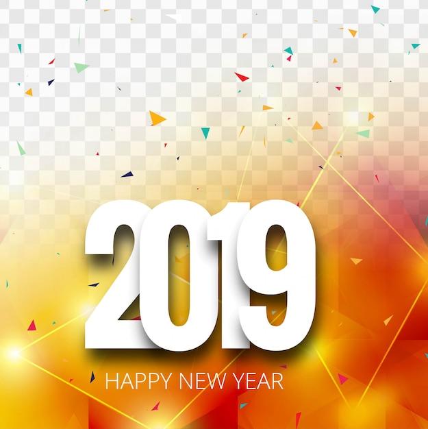 2019 gelukkig nieuwjaar tekst kleurrijke glanzende achtergrond Gratis Vector