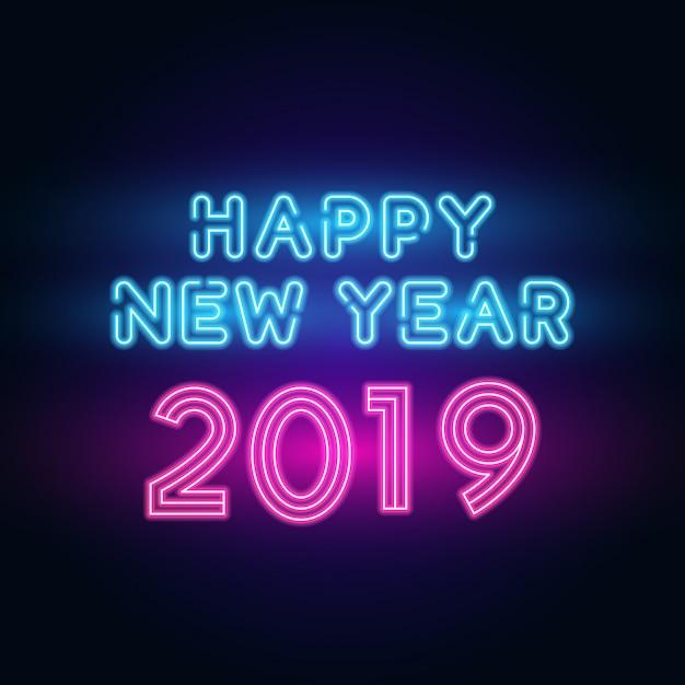 2019 gelukkig nieuwjaar. tekstneon met heldere verlichting. Premium Vector