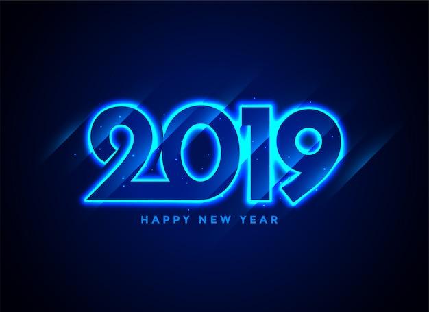 2019 gelukkige de tekstachtergrond van het nieuwjaarneon Gratis Vector
