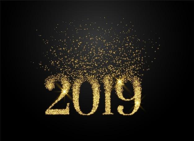 2019 geschreven in glitters en glitterstijl Gratis Vector