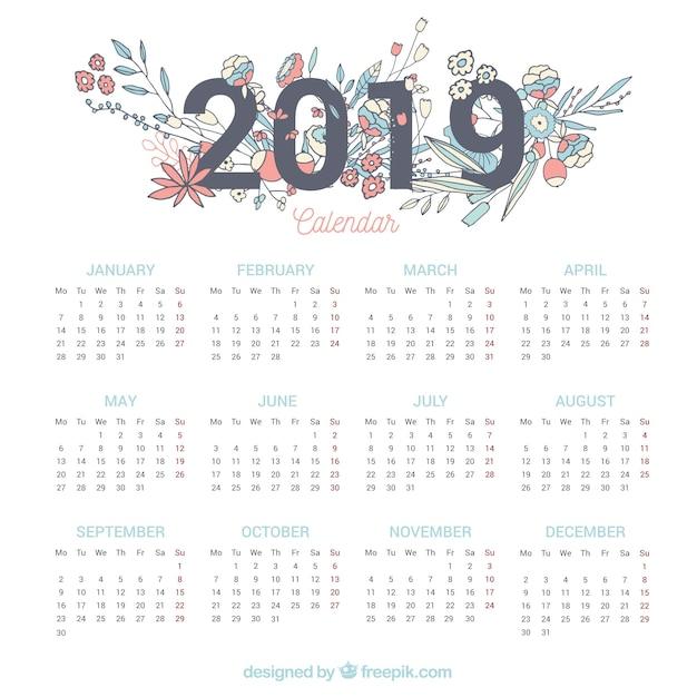2019 kalender met bloemenelementen Gratis Vector