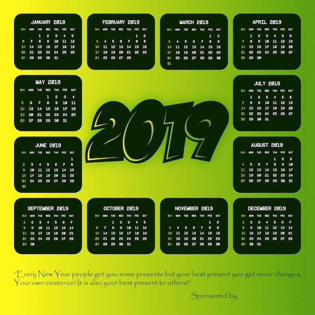 2019 kalender met creatief ontwerp vector Gratis Vector
