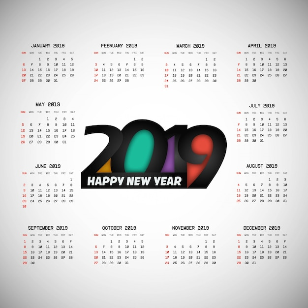 2019 kalenderontwerp met lichte vector als achtergrond Gratis Vector
