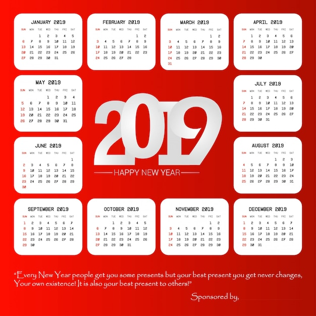 2019 kalenderontwerp met rode vector als achtergrond Gratis Vector