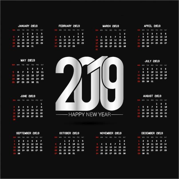 2019 kalenderontwerp met zwarte vector als achtergrond Gratis Vector
