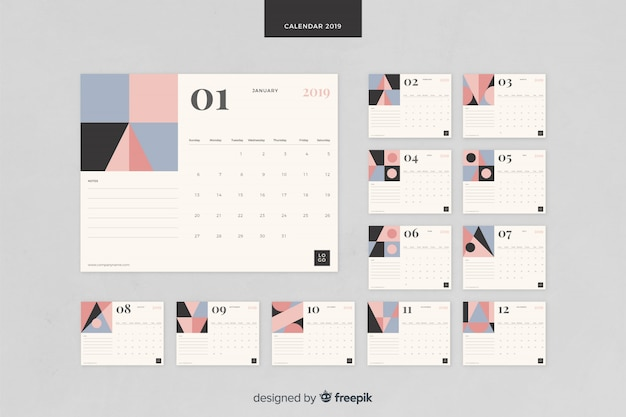 2019 kalendersjabloon Gratis Vector