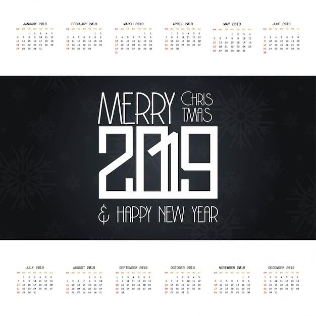 2019 kerstmis kalender ontwerp vector Gratis Vector