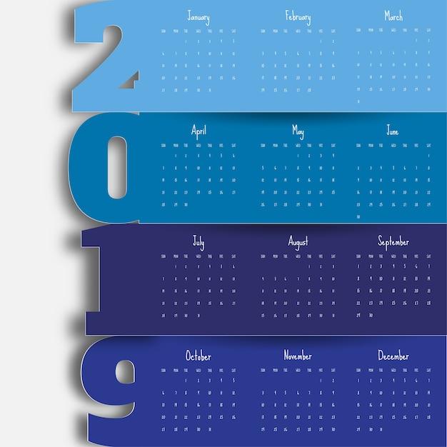 2019 moderne kalendersjabloon Premium Vector
