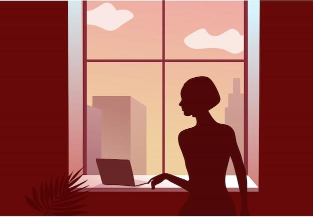 2019-ncov-quarantaine. triest vrouw bij het raam. vergrendeling thuis type. laptop. werken op afstand concept. coronavirus paniek. geïsoleerde zieke illustratie. Premium Vector