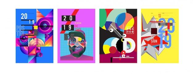 2019 nieuwe ontwerpsjabloon voor posters en omslagen Premium Vector