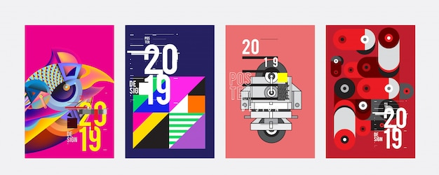 2019 poster ontwerpsjabloon Premium Vector