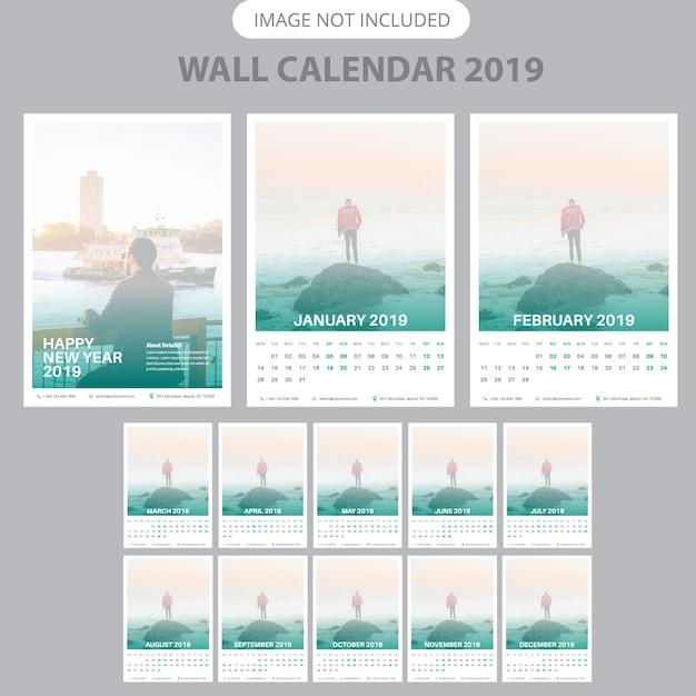 2019 sjabloon voor wandkalender Premium Vector