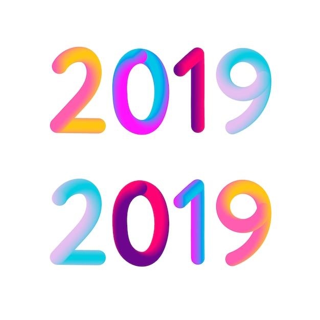 2019 vector de illustratieontwerp van de nieuwjaar 3d kaartbanner Premium Vector