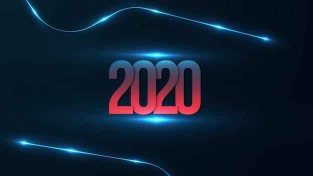 2020-achtergrond met futuristisch gloeien. gelukkig nieuwjaar met rood en blauw verloop op 2020-nummer. Premium Vector